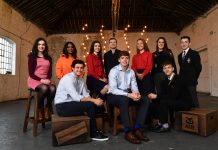 23 January 2018; At the launch of the AIB Future Sparks Festival are, from left, Sinead Walsh from Alexandra College, Dublin, recording artist Soulé, Sprout & Co co-founder Jack Kirwan, Grace Dervan from Wesley College, Dublin, Leinster rugby player Gordon D'Arcy, Dublin hurler Donal Burke, Lara Gillespie from Wesley College, Dublin, FoodCloud co-founder Iseult Ward, Sean Bradshaw from St. Paul's College, Dublin and Conor McCarthy from CBS James St., Kilkenny. Photo by Ramsey Cardy/Sportsfile