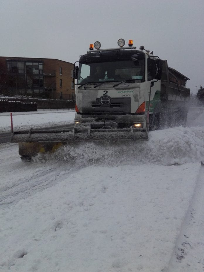 A snow plough clearing the Balinteer Road road following Storm Emma. Image: @dlrcc Twitter