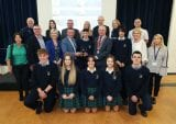 TY students, local business experts and judging panel for Dundrum's Cuchulainn Heart Challenge. Photo: Robbie Reynolds
