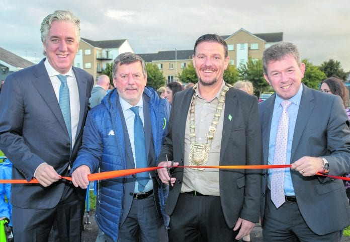 John Delaney (FAI Chief Executive), Donal Conway (FAI President), Cllr Mark Ward (Mayor of South Dublin) & Danny McLoughlin (Chief Executive of SDCC) at the opening of the frame football pitch at Esker Celtic - Photo: Ben Ryan