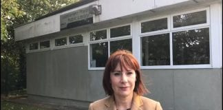 Minister Madigan outside current Stillorgan Library currently housed in a prefab