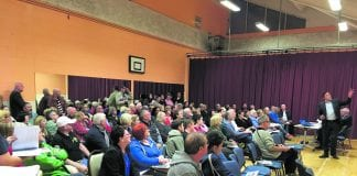 A large crowd gathered at Loughlinstown Community Rooms concerned about changes to their bus service