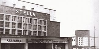 The Stella building as it was then and now
