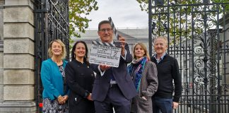 Deputy Catherine Martin at the launch of the motion with her Green Party colleagues Eamon Ryan TD, Senator Grace O'Sullivan and Cllrs. Claire Byrne and David Healy.