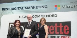 Michael McGovern, managing director of Dublin Gazette Newspapers, was delighted to accept a Highly Commended certificate for the company's Digital Marketing at the 2018 Dun Laoghaire-Rathdown Chamber County Business Awards. He was congratulated by Aileen Eglington, president, DLR Chamber and Cathriona Hallahan, managing director, Microsoft Ireland. Picture: Paul Sherwood