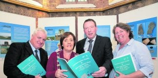 Cllr. Brian Dennehy, Deputy Mayor of Fingal Cllr. Grainne Maguire, Chief State Archaeologist Michael McDonagh and Fingal Community Archaeologist Christine Baker at the launch of the Conservation Study & Management Plan 2018-2023.