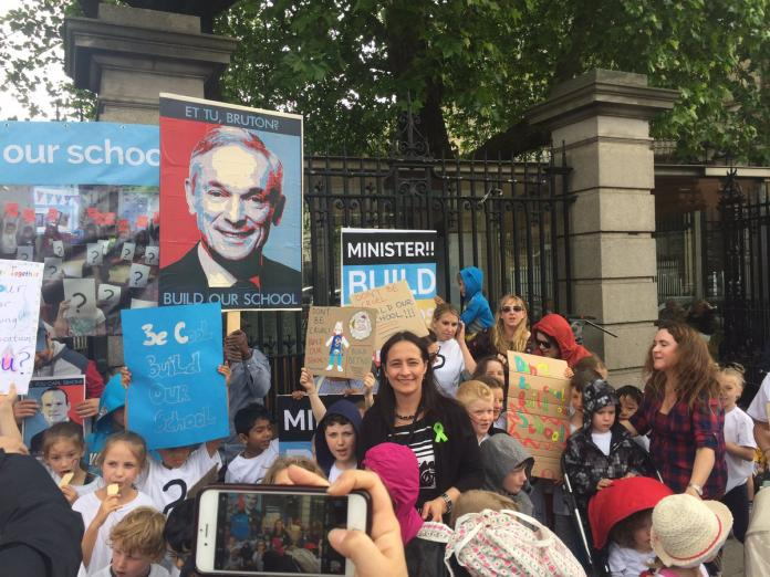 Catherine Martin with BETNS outside Leinster House