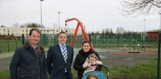Cllr Cormac Devlin and Justin Moylan with Sallynoggin resident Lisa Grundy with her kids Lilly and Molly Hayes. Picture: Luke Martin